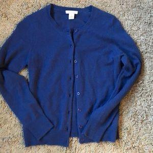 Real CASHMERE Tweeds Sm Blue Cardigan Sweater EUC